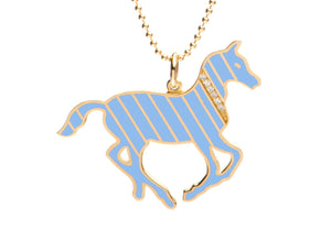 Gold and Diamond Stripe Blue Enamel Pony Necklace
