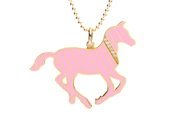 Gold and Diamond Stripe Pink Enamel Pony Necklace