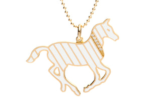 Gold and Diamond Stripe White Enamel Pony Necklace