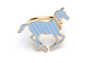 Gold and Diamond Stripe Blue Enamel Pony Ring