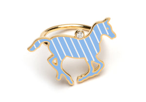 Blue and White Enamel Pony Ring