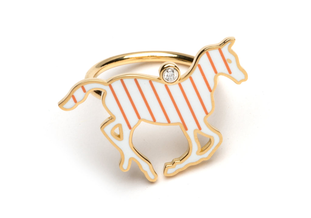 White and Orange Enamel Pony Ring