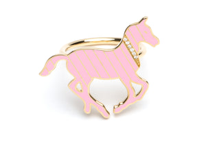 Gold and Diamond Stripe Pink Enamel Pony Ring