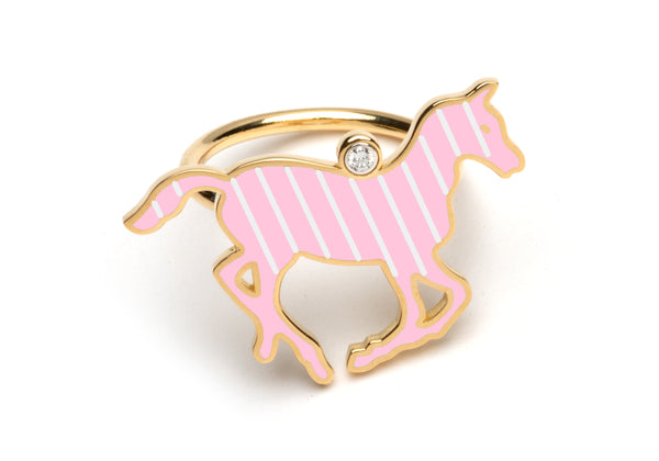 Pink and White Enamel Pony Ring