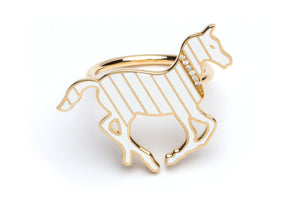 Gold and Diamond Stripe White Enamel Pony Ring