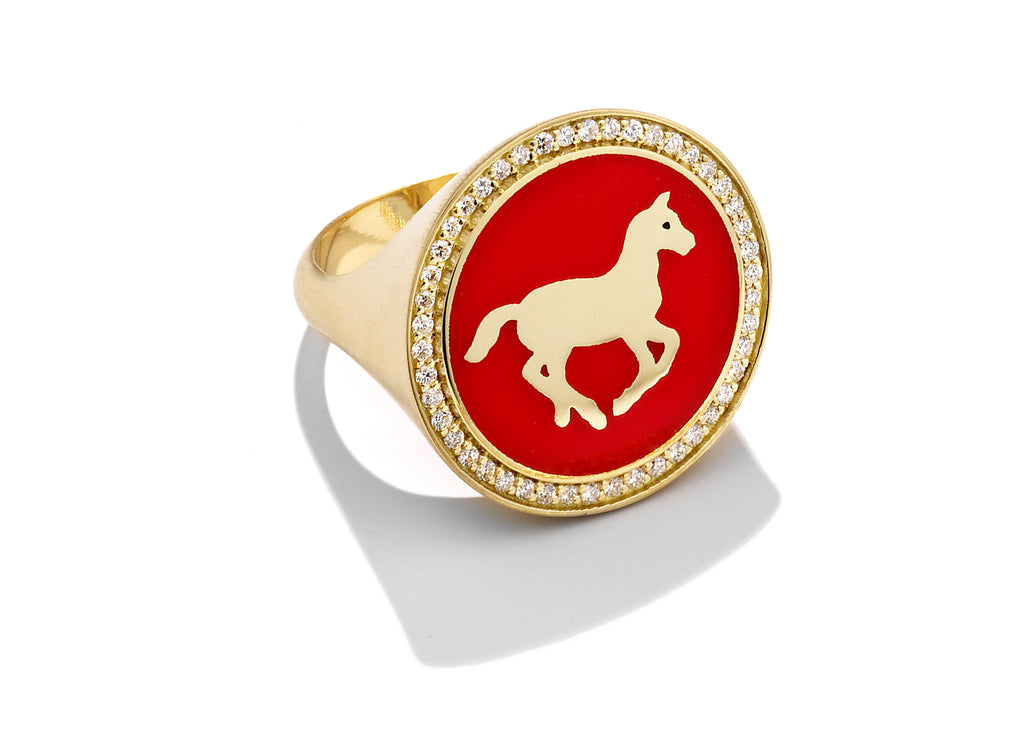 Gold and Vermilion Enamel Pony Signet Ring