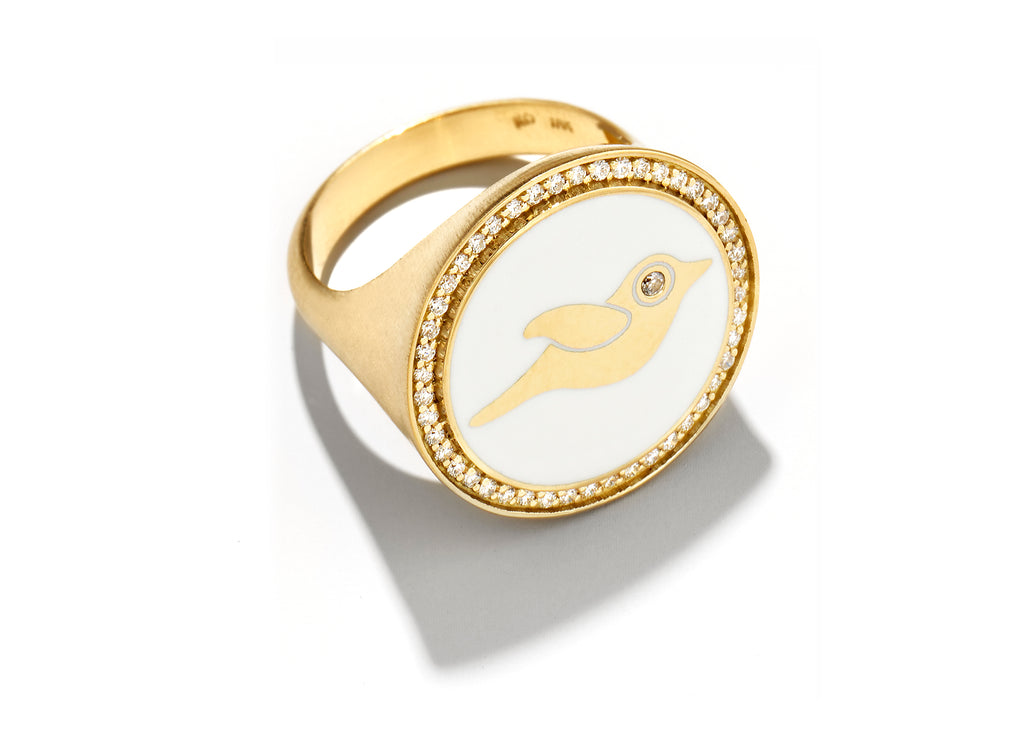 Gold and White Enamel Bird Signet Ring
