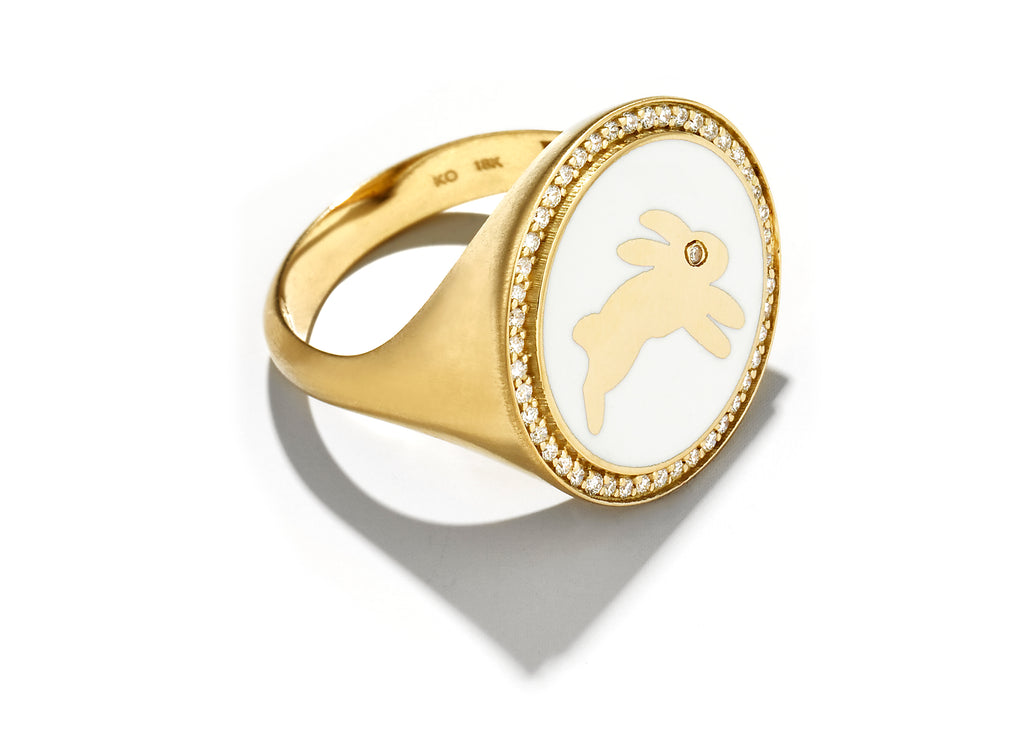 Gold and White Enamel Bunny Signet Ring