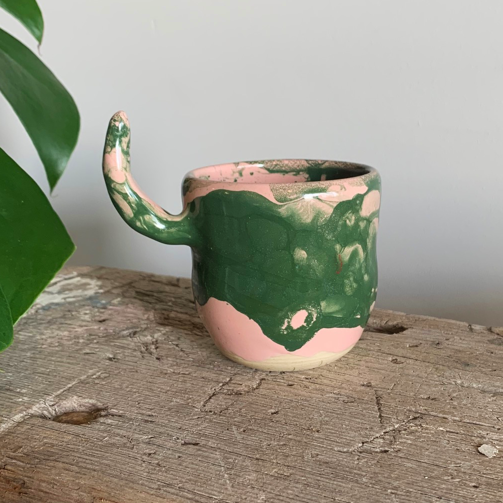 SALE - Small Cup - Green/Pink #2/3