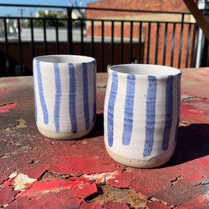 Tall Cup - Soft Blue Stripes