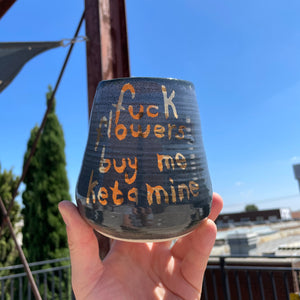 F*ck Flowers Buy Me Ketamine - Medium Volcano Vase - Midnight + Gold Luster