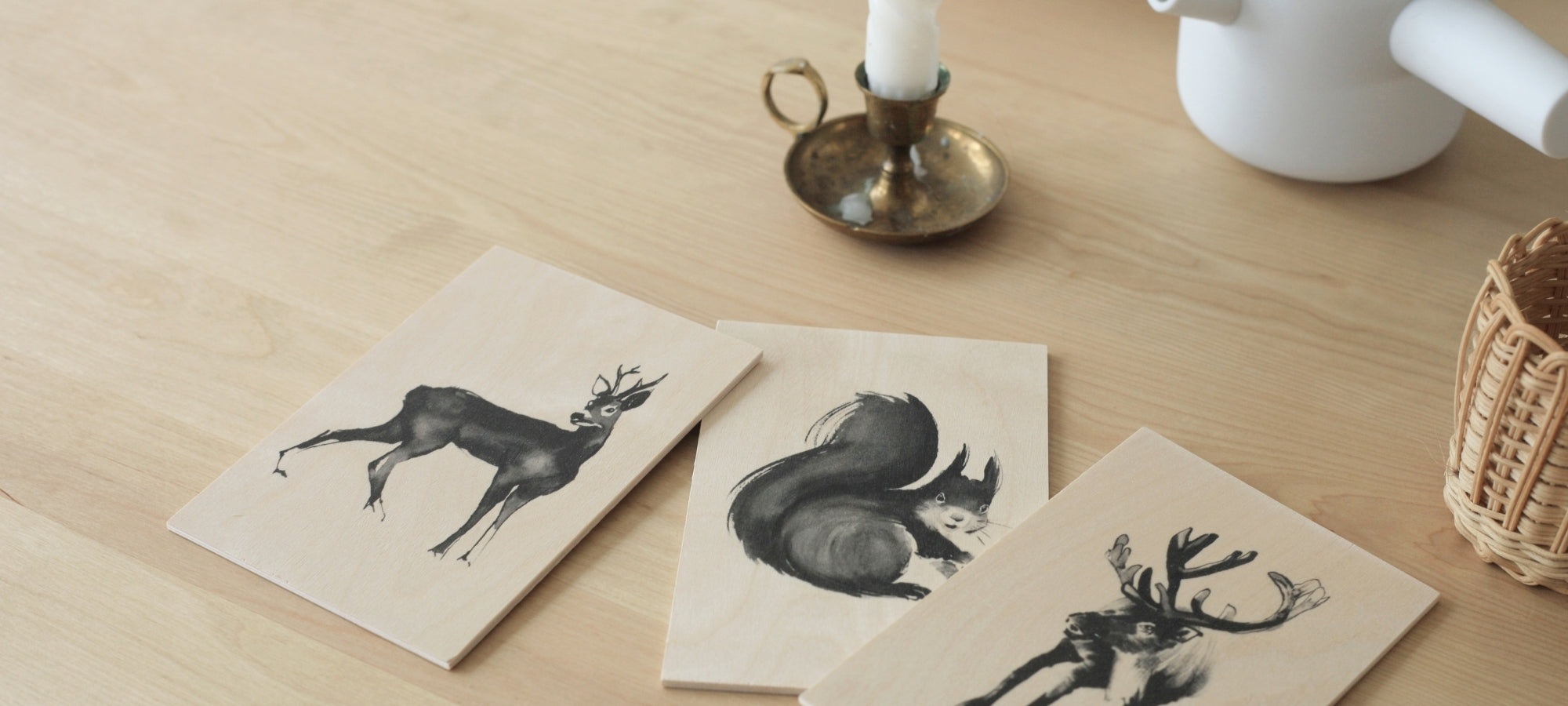 Teemu Jarvi wooden art cards on the table