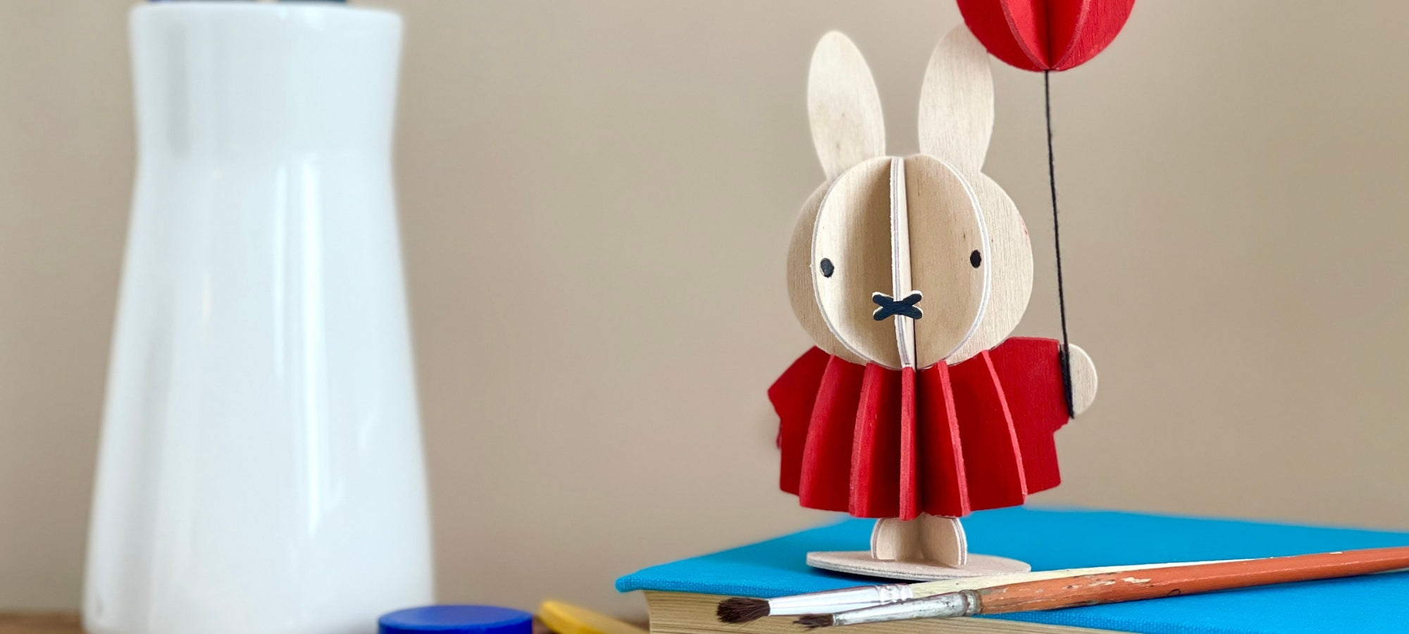 Lovi Miffy painted with watercolors in red