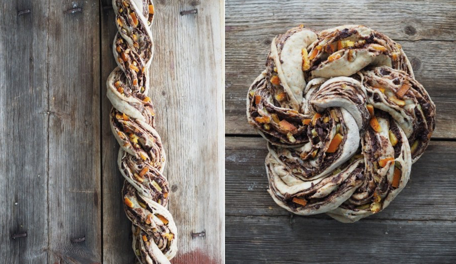Easter recipe: Whole Wheat Dark Chocolated and Candied Orange Peel Braided Swirl Bun
