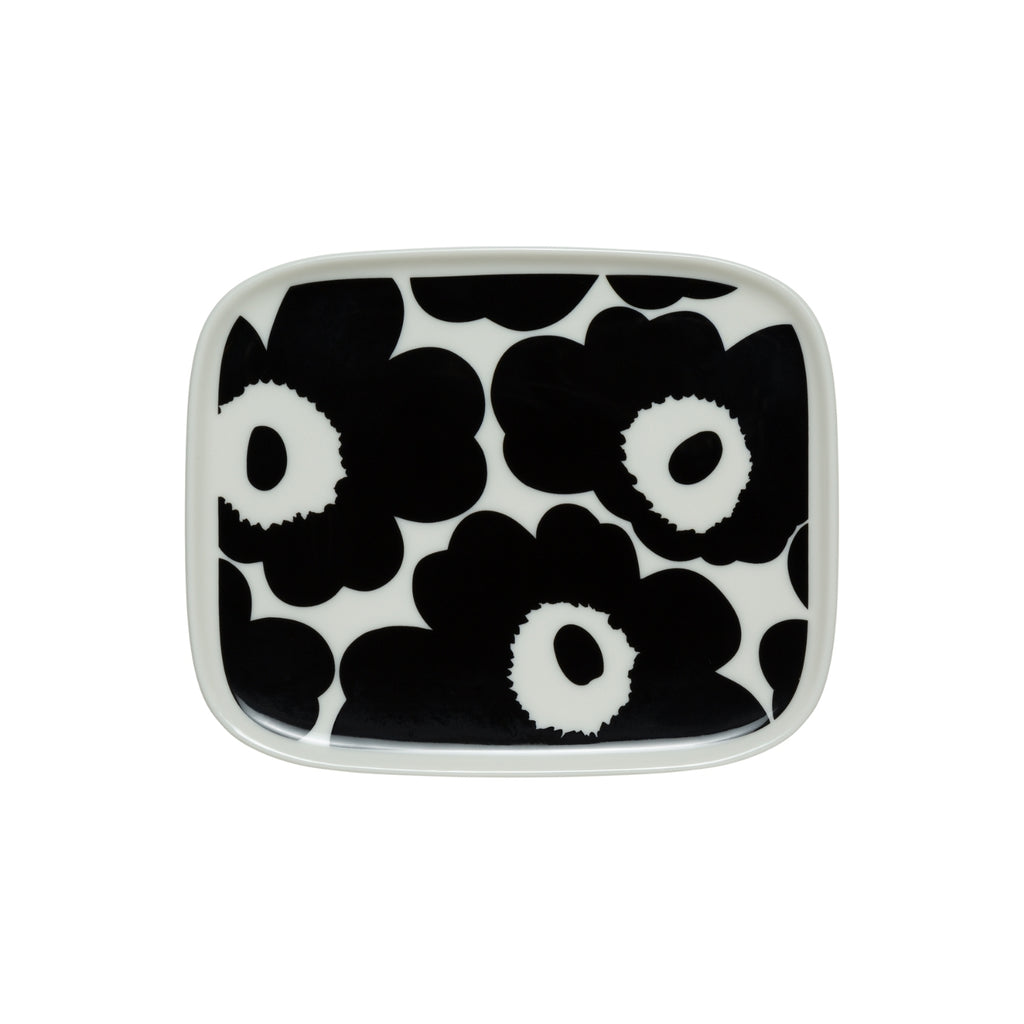 Marimekko UNIKKO Rectangular Black and White Plate