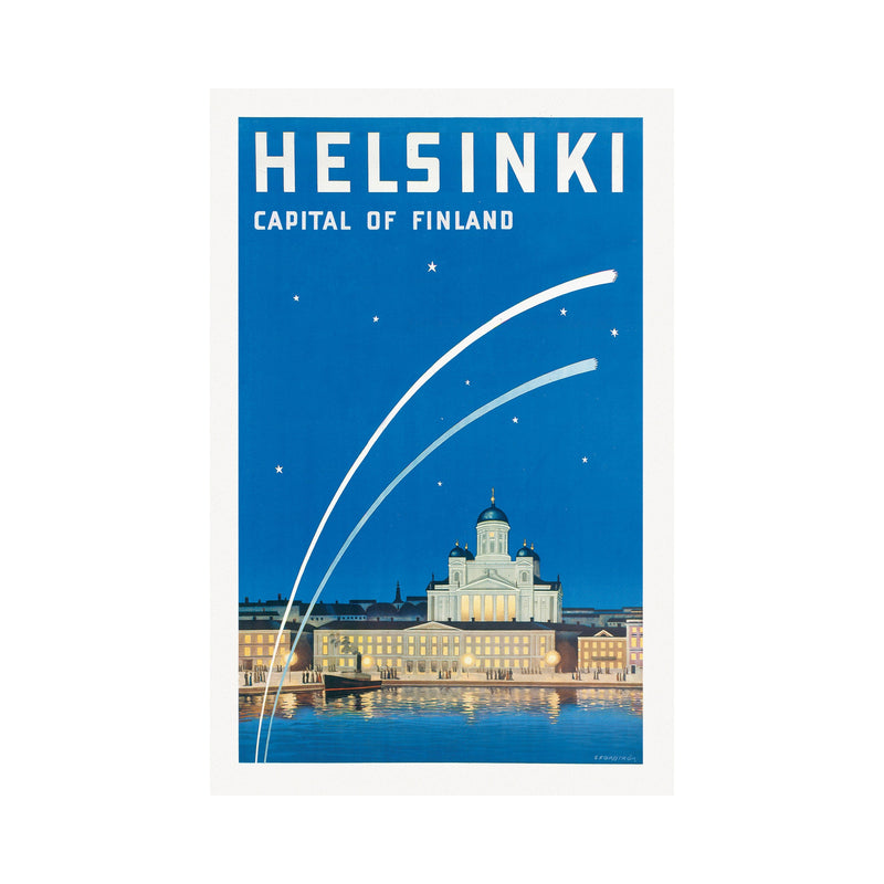 Come to Finland HELSINKI CAPITAL OF FINLAND vintage poster blue