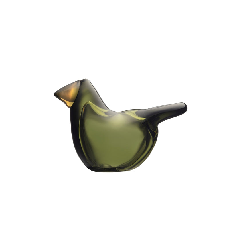 Iittala BIRDS by TOIKKA Flycatcher moss green with copper colored beak
