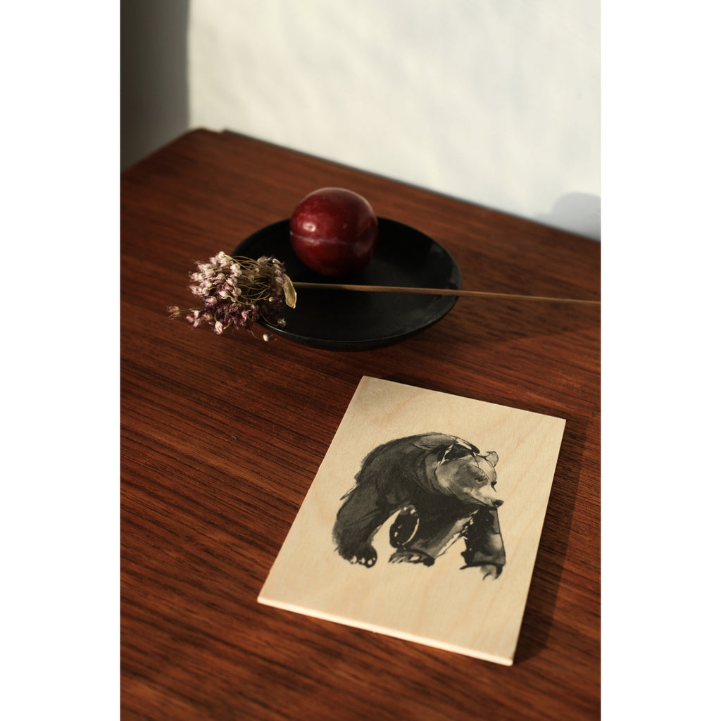 "Teemu Järvi GENTLE BEAR Art Card (4"" x 6"") natural birch wood and grey ink"