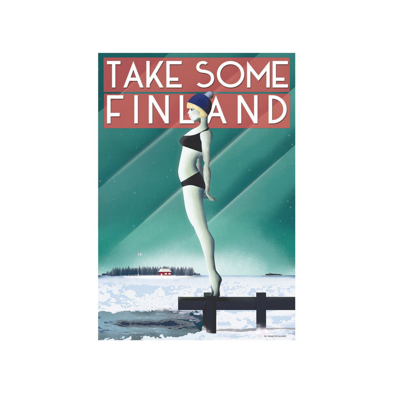 Come to Finland TAKE SOME FINLAND vintage travel poster green