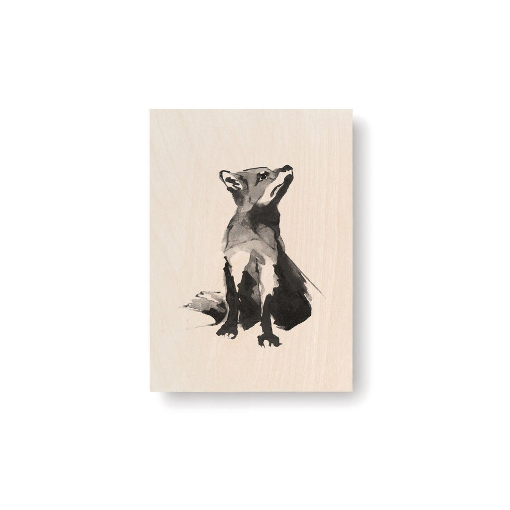 "Teemu Järvi FOX Art Card (4""x6"") natural bird wood and grey ink"