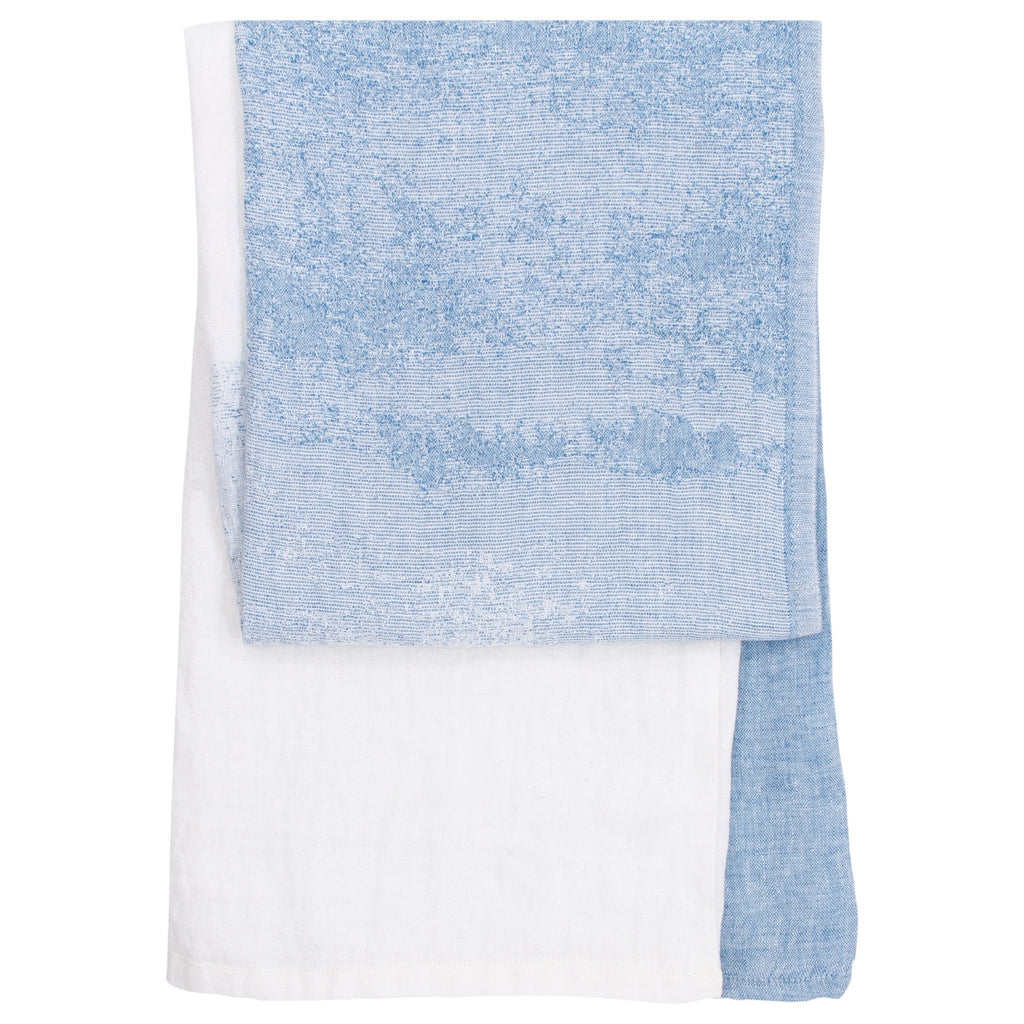 Lapuan Kankurit SAARI 100% Linen Bath Sheet in White-Blue Color