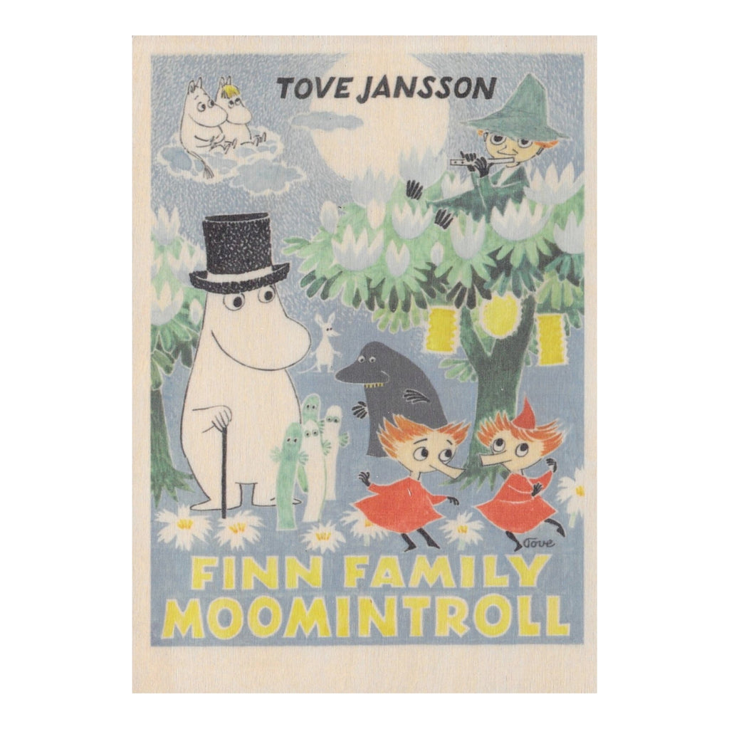 Come to Finland MOOMIN FINN FAMILY wooden art card