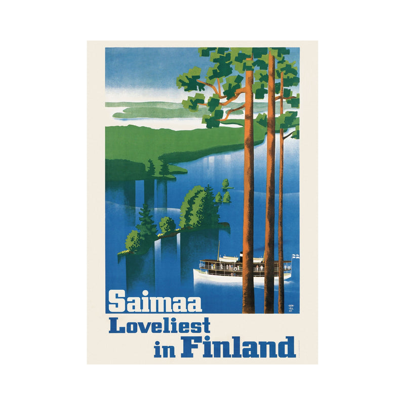 Come to Finland Saimaa Finland vintage poster blue