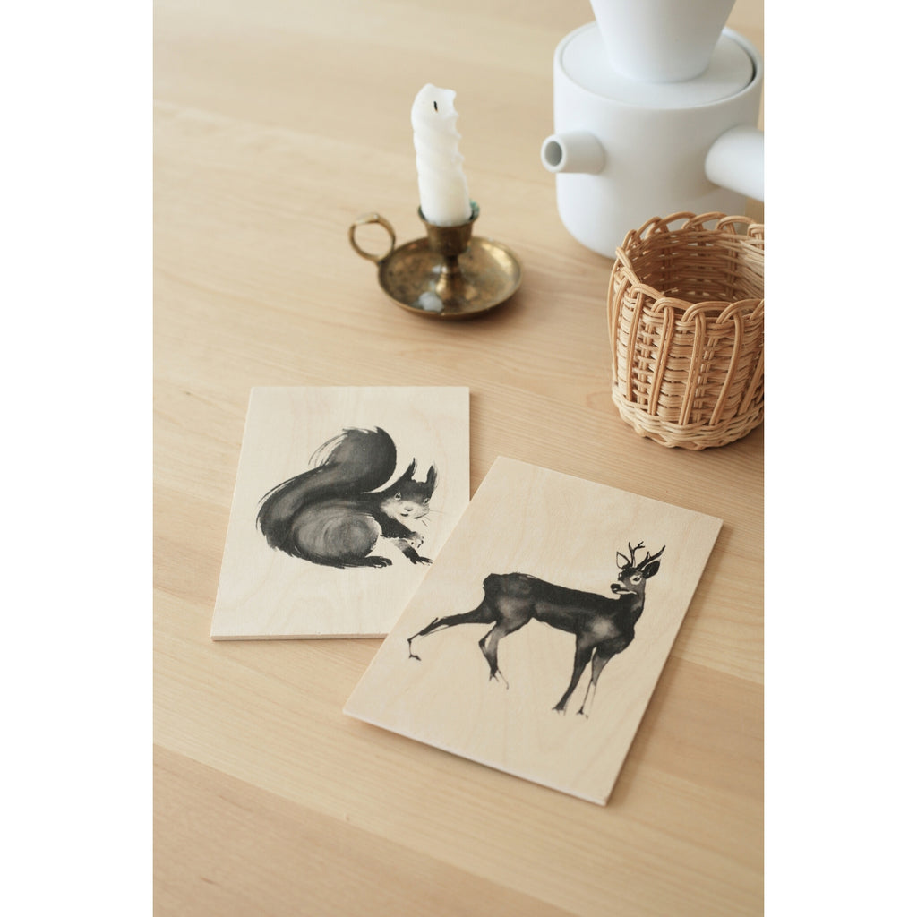 "Teemu Järvi SQUIRREL and  ROE DEER Art Card (4"" x 6"") natural birch wood and grey ink"
