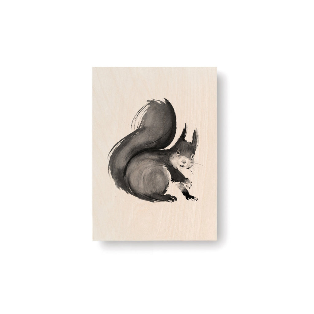 "Teemu Järvi SQUIRREL Art Card (4"" x 6"") natural birch wood and grey ink"