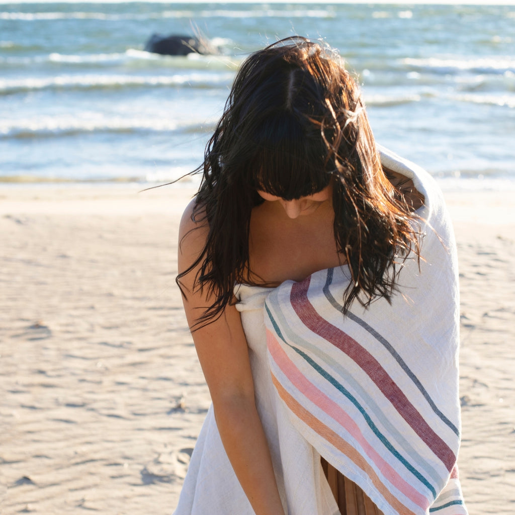 Lapuan Kankurit LEWA 100% Traceable European Linen Beach Towel in Grey-Bordeaux Color Weaved in Finland
