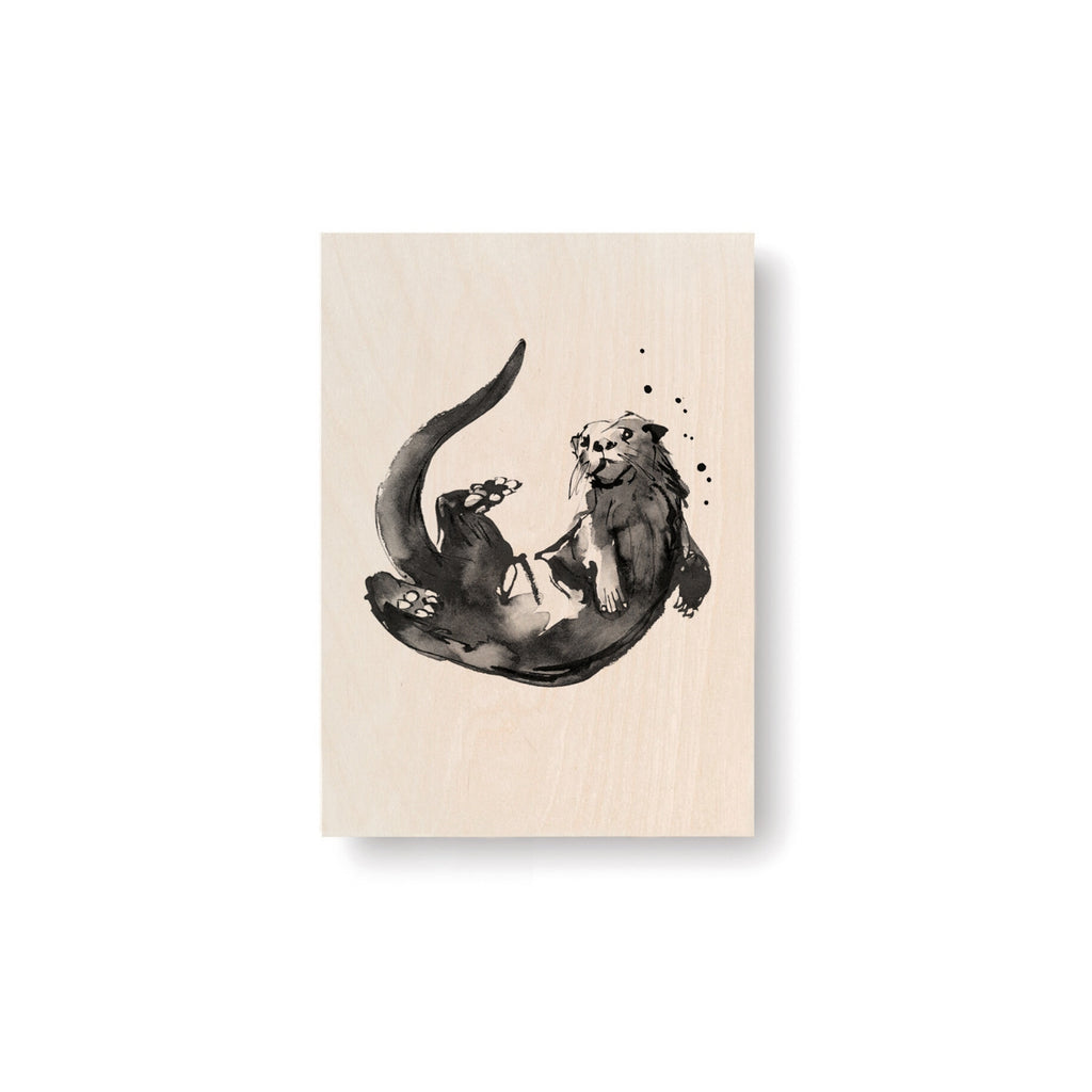 "Teemu Järvi OTTER Art Card (4"" x 6"") natural birch wood and grey ink"