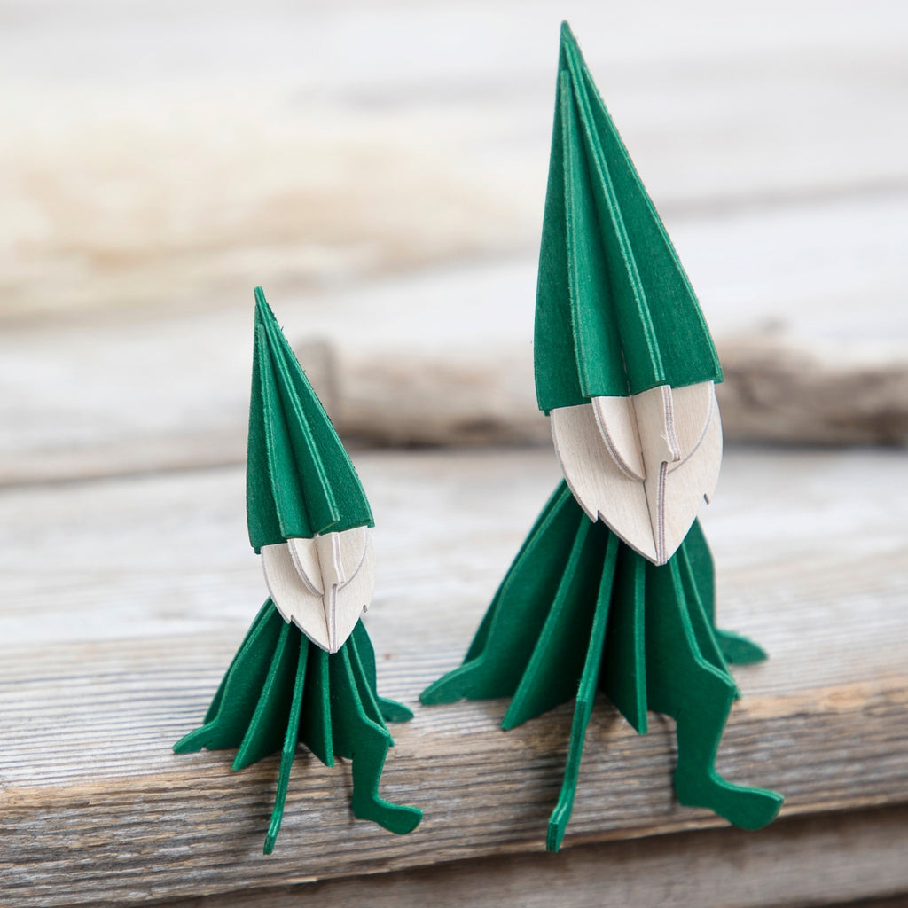 "LOVI Elves 3.15"" and 4.7""  in dark green"