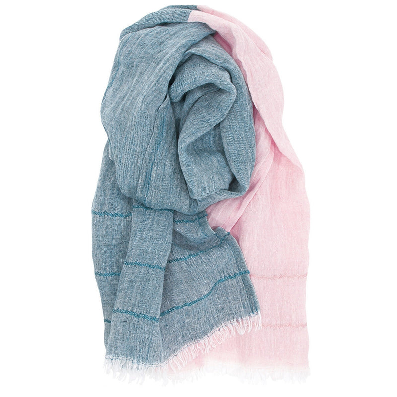 Lapuan Kankurit TSAVO 100% Linen Scarf Teal-Rose Color
