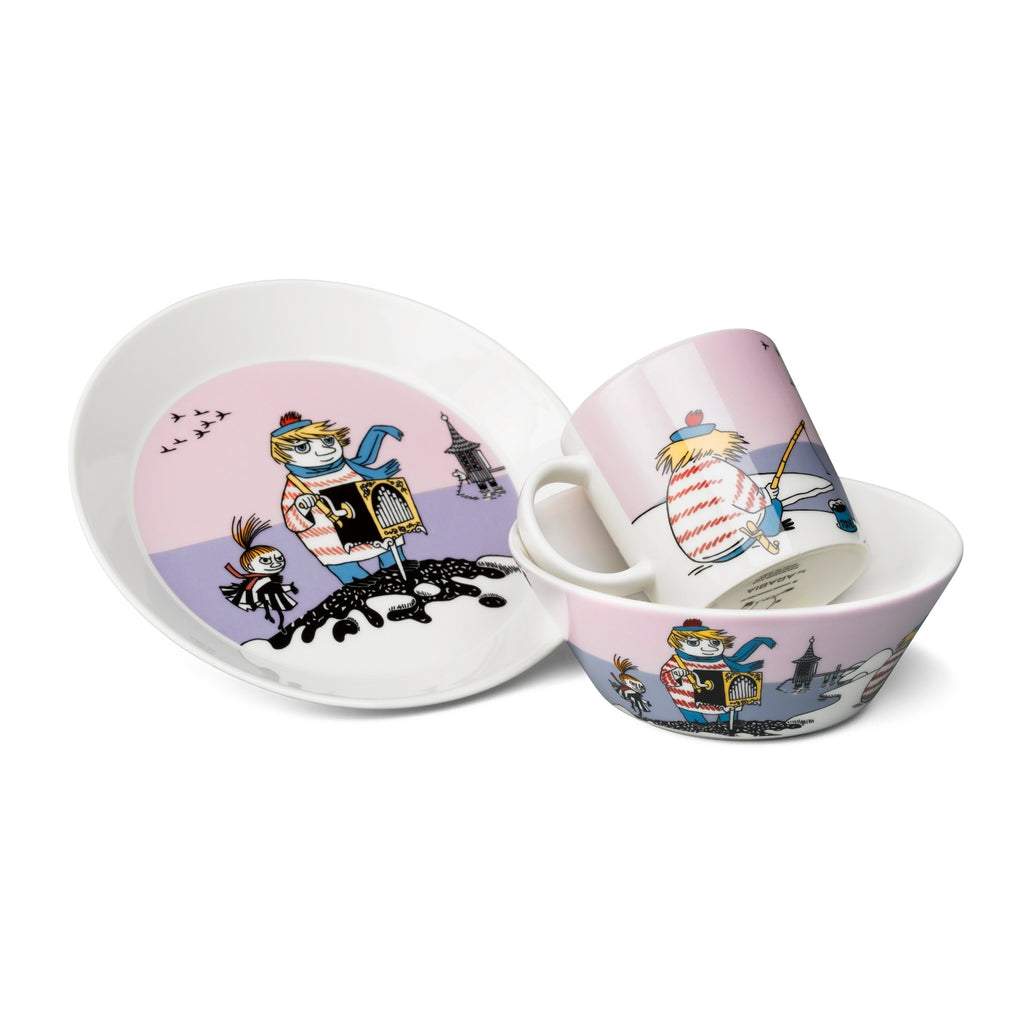 Arabia MOOMIN violet TOOTICKY Plate, Bowl and Mug