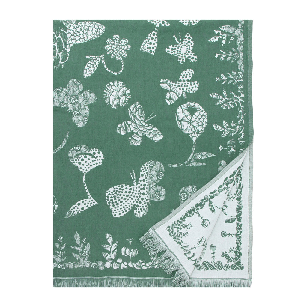 Lapuan Kankurit AAMOS blanket/throw white-green