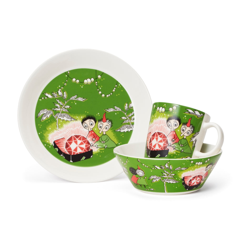 Arabia MOOMIN green THINGUMY and BOB Plate, Mug and Bowl