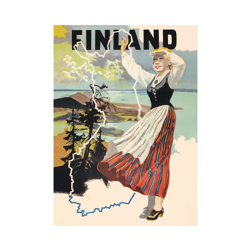 Come to Finland MAIDEN of FINLAND vintage poster