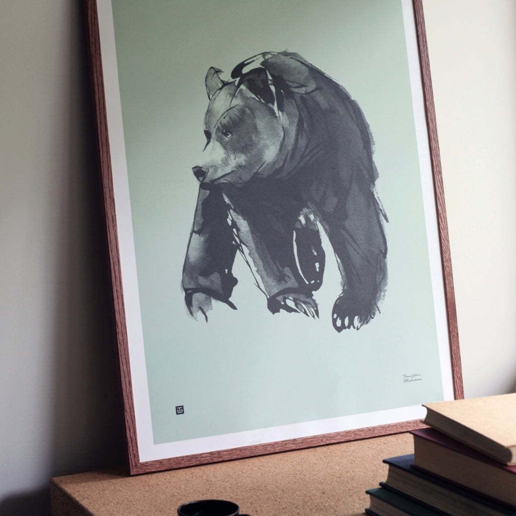"Teemu Järvi GENTLE BEAR (20"" x 28"") Print in muted mint green"