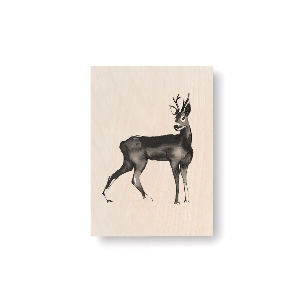 "Teemu Järvi ROE DEER Art Card (4"" x 6"") natural birch wood and grey ink"