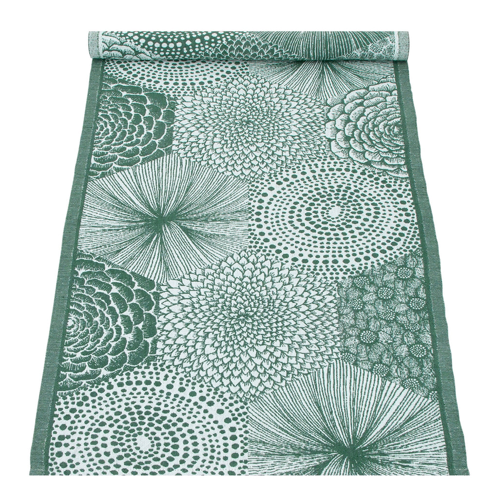 Lapuan Kankurit RUUT tablerunner in white- aspen green color