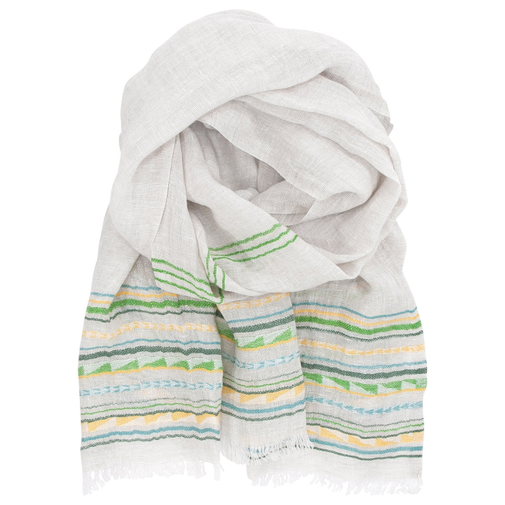 Lapuan Kankurit WATAMU 100% Traceable European Linen Scarf Yellow-Green Color