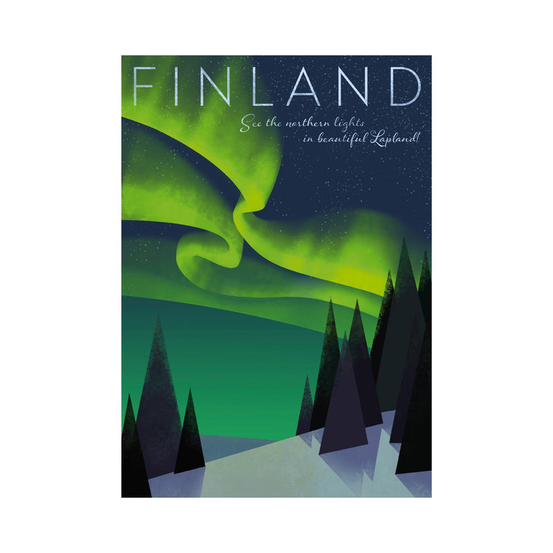 Come to Finland HOME OF THE NORTHERN LIGHTS travel poster green