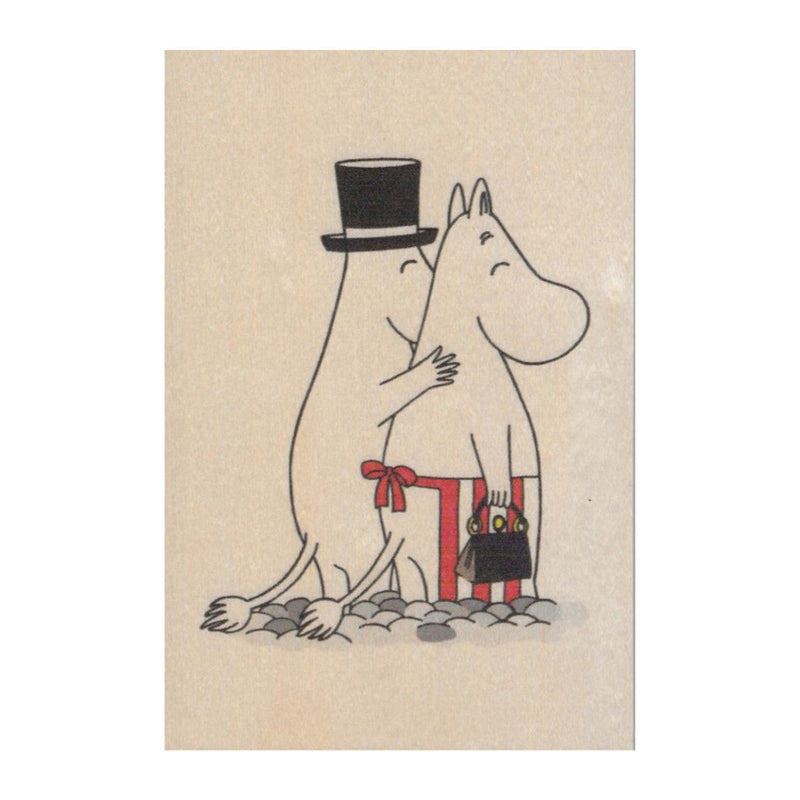 Come to Finland Moominmamma & Moominpappa wooden postcard