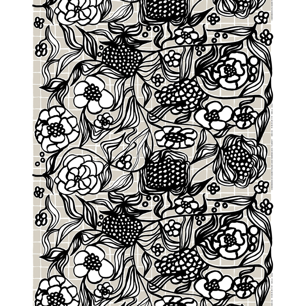 Marimekko FLORISTI Panama Cotton Fabric black and white
