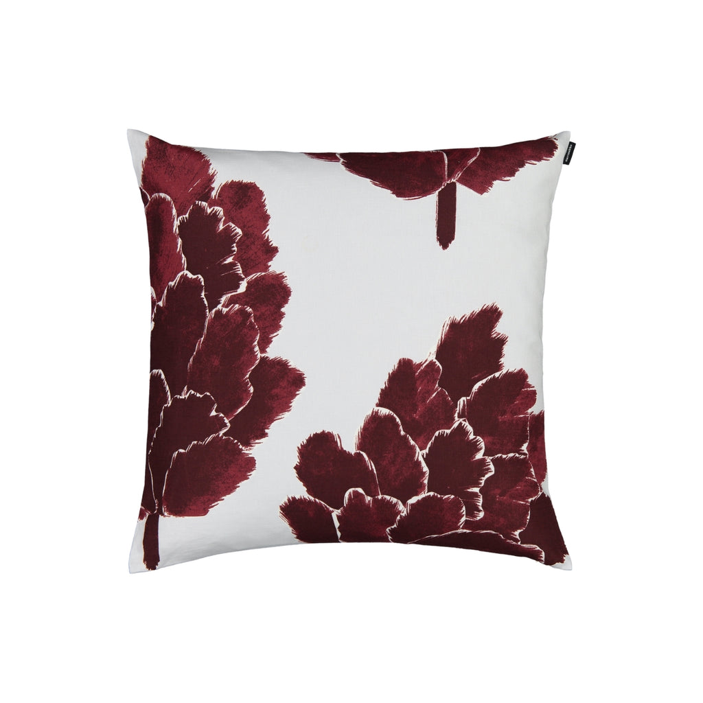 Marimekko KÄPYKUKKA linen-cotton blend 20 x 20 Cushion Cover wine red