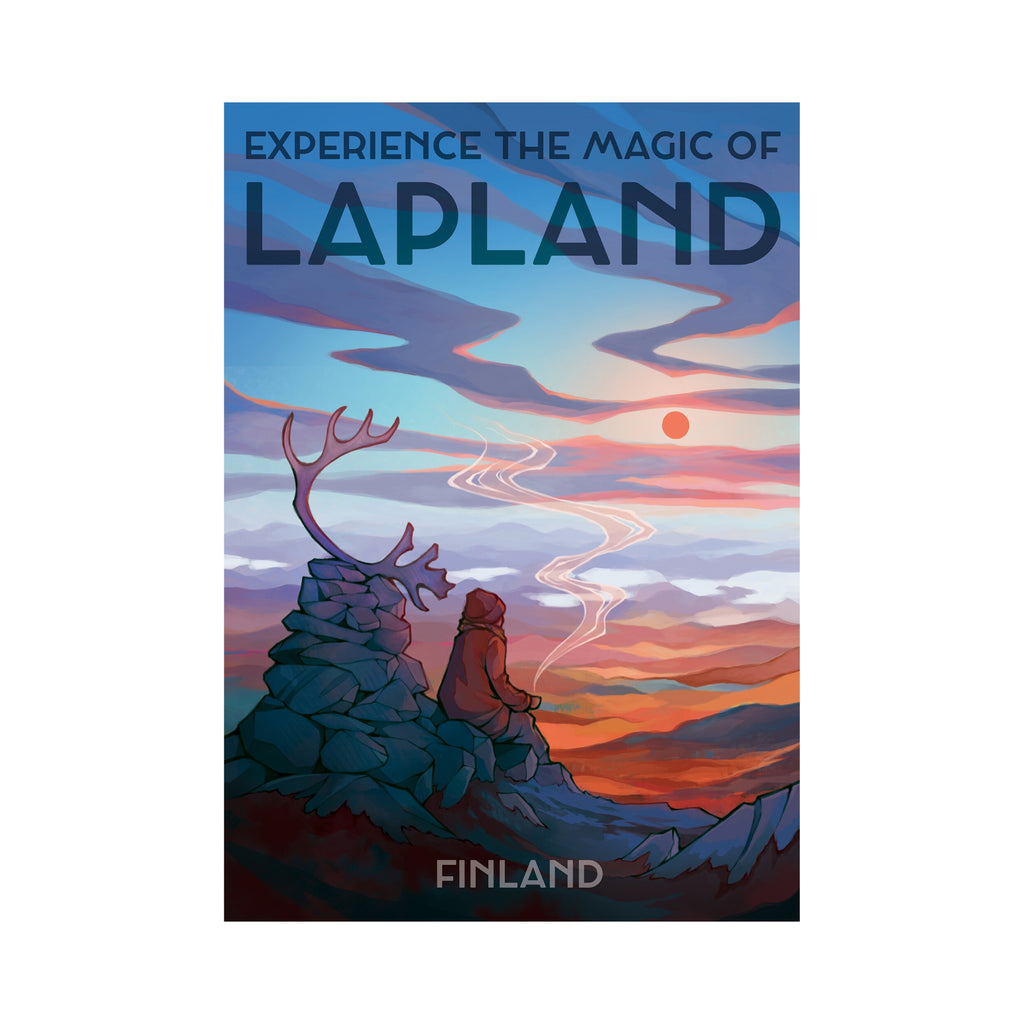 Come to Finland MAGIC of LAPLAND travel poster blue