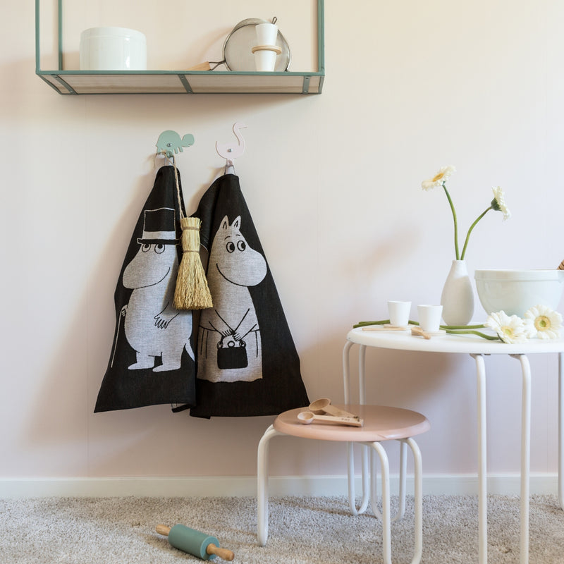 Ekelund Moominpappa and Moominmamma towels black
