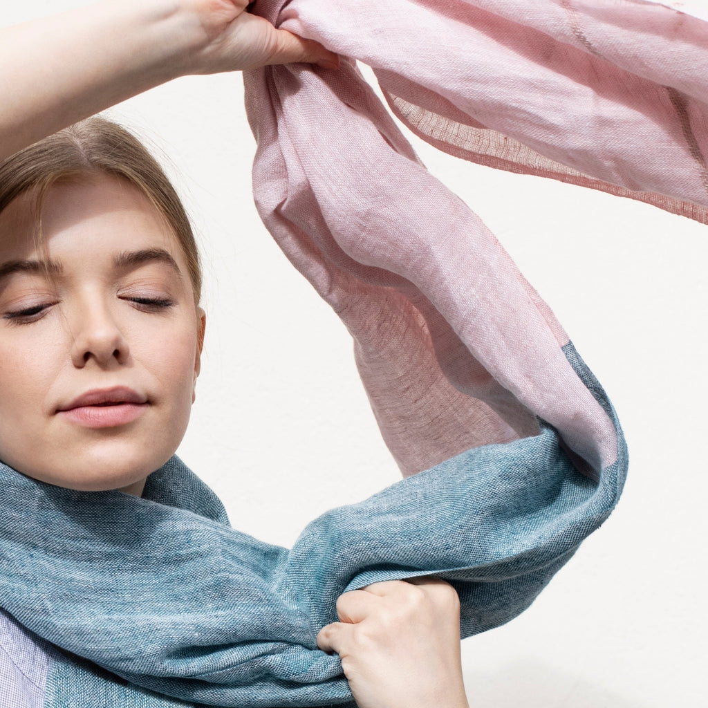 Lapuan Kankurit TSAVO 100% traceable European Linen Scarf in Teal-Rose Color weaved in Finland
