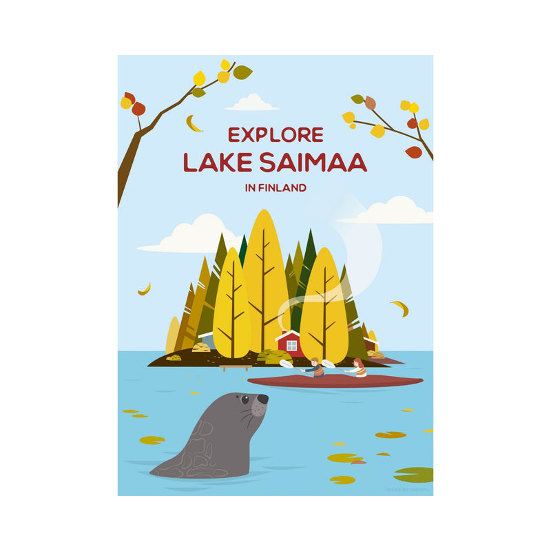Come to Finland EXPLORE LAKE SAIMAA travel poster blue