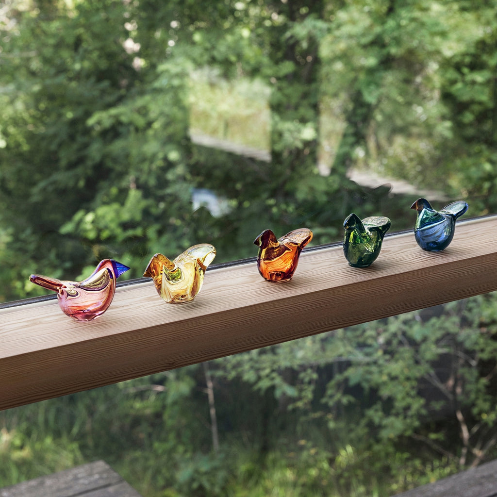 Iittala BIRDS by TOIKKA FLYCATCHER glass bird collection in salmon pink, lemon, moss green, copper and rain colors